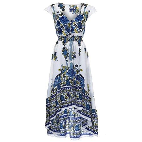 Elogoog Women Retro Drawstring Floral Printed Short Sleeve Pleated V-Neck Evening Party Dress (White, L)