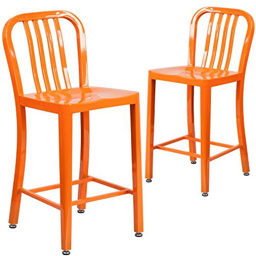 Flash Furniture 2 Pk. 24'' High Orange Metal Indoor-Outdoor Counter Height Stool with Vertical Slat Back