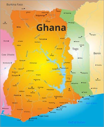 Ghana Karte.Forex Print 40 X 50 Cm Karte Ghana By Colourbox Amazon Co