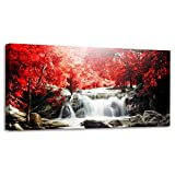 Youkiswall Art Red Waterfall 40-Inch-by-20-Inch Framed Canvas Print by youkiswall art