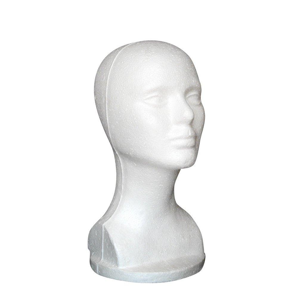 Hennta Mannequin Head with Chest, White Female Styrofoam Mannequin Manikin Head Model Foam for Dummy Wig Hair Glasses Hat Cap Headphone Jewelry Stand Display