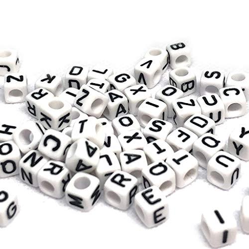 (White 6mm Plastic Alphabet Cube Beads, Small, 625 Beads (100 Grams) Black Letters)
