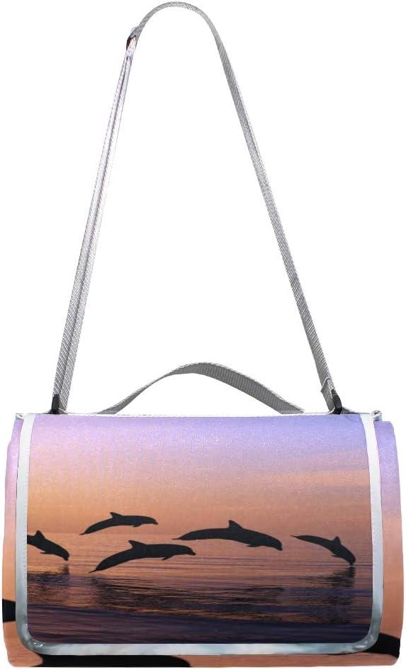 GEEVOSUN Coperta da Picnic Tappetino Campeggio,Serata di Acqua saltata Delfino,Giardino Spiaggia Impermeabile Anti Sabbia 13