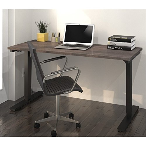Bestar 24'' x 60'' Electric Height Adjustable Table in Bark Gray by Bestar
