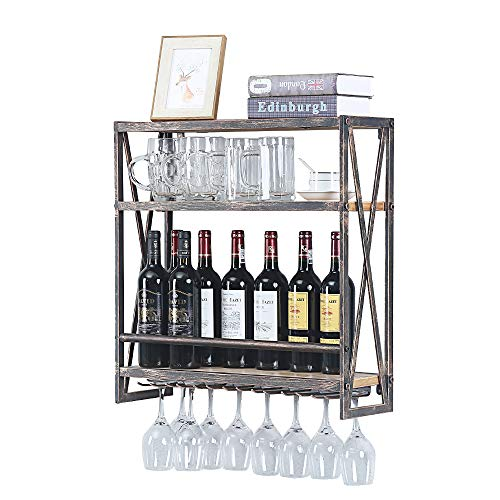 Industrial Wine Racks Wall Mounted with 7 Stem Glass Holder,23.6in Rustic Metal Hanging Wine Holder Wine Accessories,3-Tiers Wall Mount Bottle Holder Glass Rack,Wood Shelves Wall Shelf(Bronze)