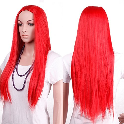 S-noilite 3/4 Full Head Half Wig Straight Red Hair Fall clip in Hairpiece for American Lady Women Daily