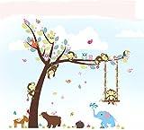 Lisdripe Creative Cartoon Jungle Animals Theme Wall Sticker - Removable Vinyl Wall Art –Monkey Swings Elephant Owl Tree Wall Decals,Bedroom, Playroom,Nursery Decors Decoration