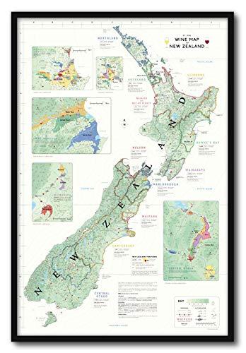 De Long Wine Map of New Zealand Framed (Framed Map Of New Zealand)