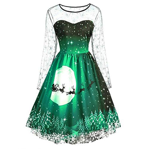 GREFER Women Long Sleeve Dress Vintage Pumpkins Halloween Christmas Evening Prom Costume Swing Dress (M, K-Green) for $<!--$11.35-->