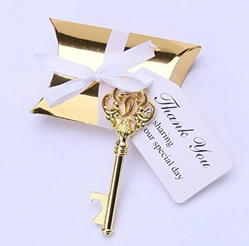 Meressie 50pcs Wedding Favors Key Bottle Openers with Gold Candy Boxes Thank You Tags Party Supplies Rustic Decoration, Gold Color Key (Key Style #1)