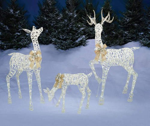 set of 3 lighted white gold deer family reindeer display outdoor christmas holiday yard decoration by