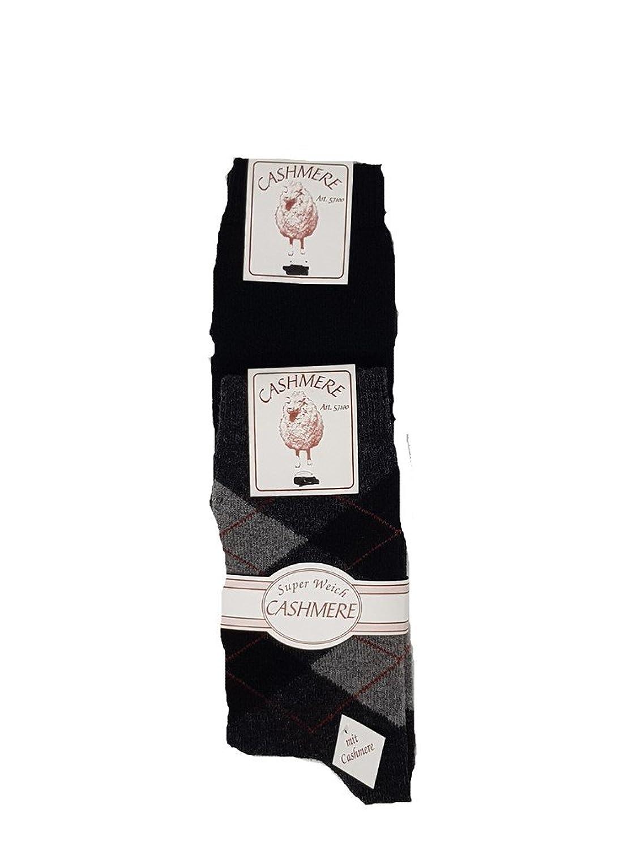 d1314faaf0e14f zum Verkauf 2 Paar CASHMERE SOCKEN Damen+Herren Romben Karo-Design  schwarztöne 39-