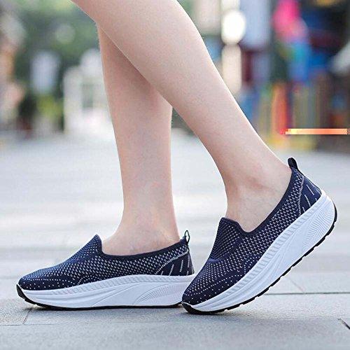 Corrientes Zapatos Azul de vuelan Hueco Que atléticos Que Gruesos de Mujeres 35 Las Paso los del 40 Tamaño Cuña Zapatos agitan Zapatos la Verano del Respirable Ixawwv