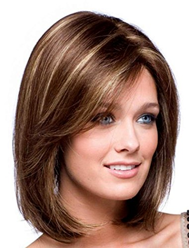 Light Blonde Hair Wig - BESTUNG Short Mixed Color Synthetic Women Wig Medium Length Natural Looking Hair Wigs Light Brown and Light Blonde