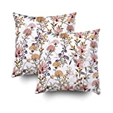 GROOTEY Decorative Cotton Square Set of 2 Pillow Case Covers with Zippered Closing for Home Sofa Decor Size 20X20Inch Costom Pillowcse Throw Cover Cushion,Pattern Wild Flowers Isolated