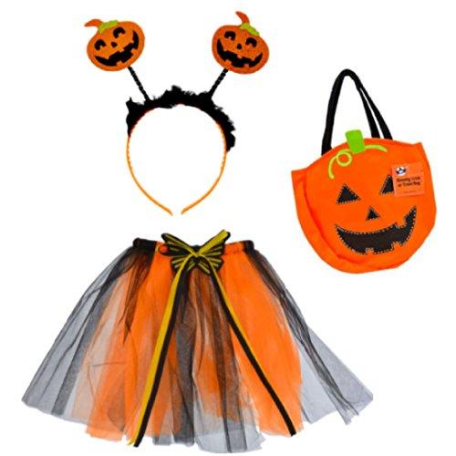 Cute Halloween Costume with Tutu Headband Pumpkin Treat Bag