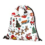 DAYSEVENTH Christmas Storage Bag Linen Backpack Bags Drawstring Bag Xmas Gift Decorations
