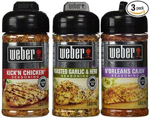 Weber All Natural Seasoning Blend 3 Flavor Variety Bundle: (1) Weber N'Orleans Cajun Seasoning Blend, (1) Weber Roasted Garlic & Herb Seasoning Blend, and (1) Weber Kick'N Chicken Seasoning Blend