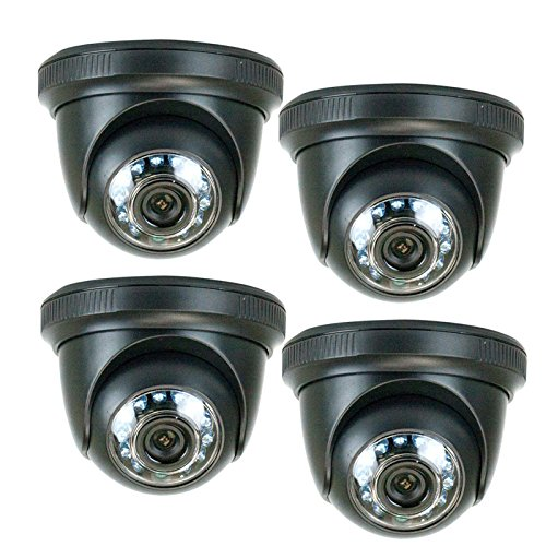 GW Security VD86HD 4Pack Power Kit 850TVL 1/3-Inch Color Sony CMOS Indoor Dome CCTV Surveillance Security Camera with Free Power Supply Kit, Pack of 4 (Black)