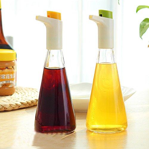 XDOBO Conjunto de 2, multifuncional vidrio Aceite/Vinagre Botella Oiler Vinagre Salsa condimento Pot Container Spice Jar con...
