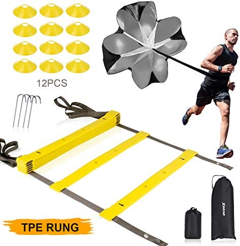 XGEAR Speed Agility Training Set – Indoor Outdoor Adjustable Rungs Agility Ladder, Resistance Parachute, 4 Steel Stakes, 12 Disc Cones – Kit for Soccer, Lacrosse, Hockey, Basketball Drill