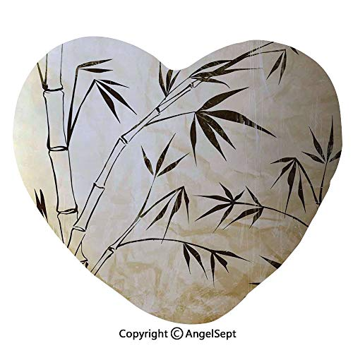 - Heart Shape Cushion Pillow Gradient Bamboo Leaves Flexibility Complex Root Structure Stable Travelers Image Home Couch Bed Living Room Office Chair Car Decor Travel Lover Girl Gift 17.7 x 19.7 Inch,B