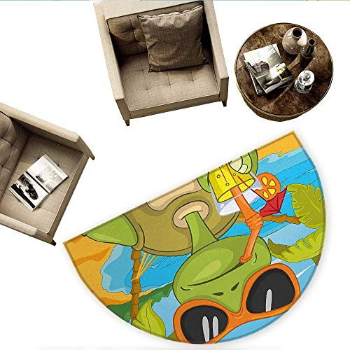 - Turtle Semicircular CushionCool Sea Turtle with Sunglasses Drinking Cocktail at The Beach Cartoon Entry Door Mat H 78.7