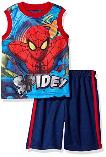Marvel Little Boys' Spiderman Short Set with Tank Tee, Navy, 4