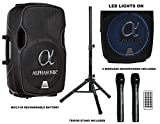 Alphasonik 15'' Portable Rechargeable Battery Powered 1500W PRO DJ Amplified Loud Speaker with 2 Wireless Microphones Echo Bluetooth USB SD Card AUX MP3 FM Radio PA System LED Ring Karaoke Tripod Stand