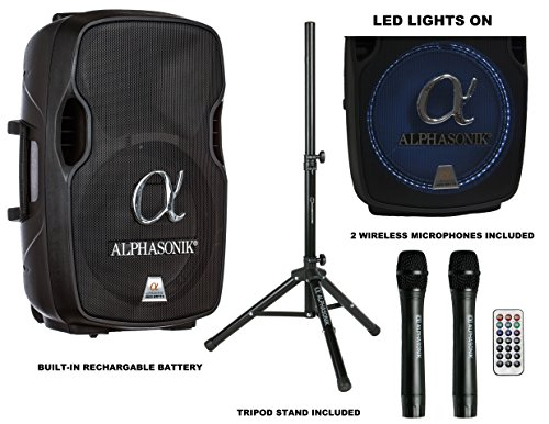Alphasonik 15'' Portable Rechargeable Battery Powered 1500W PRO DJ Amplified Loud Speaker with 2 Wireless Microphones Echo Bluetooth USB SD Card AUX MP3 FM Radio PA System LED Ring Karaoke Tripod Stand by Alphasonik