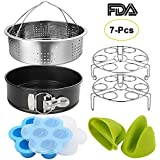 Instant Pot Accessories Set with Springform Pan, Vegetable Steamer Basket, Egg Rack, Egg Bites Mold, Silicone Cooking Mitts Fits for 6/8 Qt Instant Pot (7 PCS)