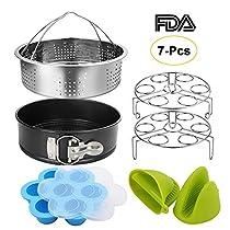 Instant Pot Accessories Set with Springform Pan, Vegetable Steamer Basket, Egg Rack, Egg Bites Mold, Silicone Cooking Mitts Fits for 6/8 Qt Instant Pot (7 PCS)