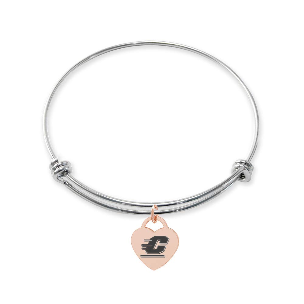 College Jewelry Central Michigan Chippewas Stainless Steel Adjustable Bangle Bracelet with Rose Gold Plated Heart Charm