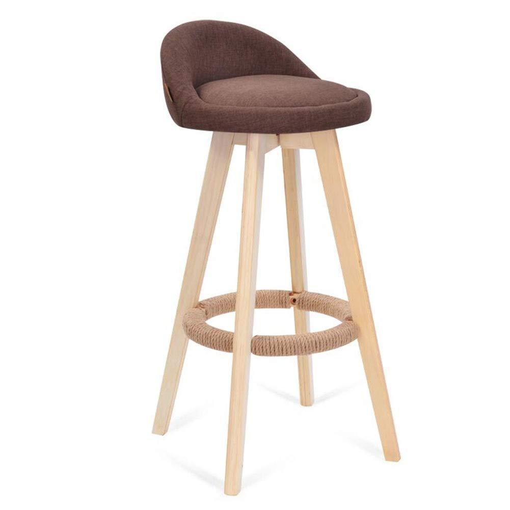bluee-A QIDI MUMA, Bar Chair 360 Degree redation Solid Wood Cotton Linen High Stool Simple Modern High Back Retro Environmentally Front Desk Family - 49 X 49 X 73cm (color   bluee-A)