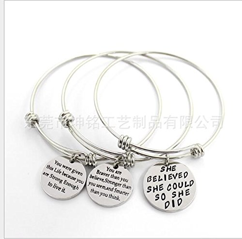 Bassion 2 Sets Silver Plated Stainless Steel Metal Inspirational Bracelets Engraved Motivational Round Charm Pendant Expandable Adjustable Bracelets Bangle Gift for Women Men