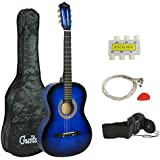 ZENY 38'' Acoustic Guitar Full Size Beginners Package Kit for Right-handed Starters Kids Music Lovers w/Case, Strap, Tuner, and Pick (Blue)
