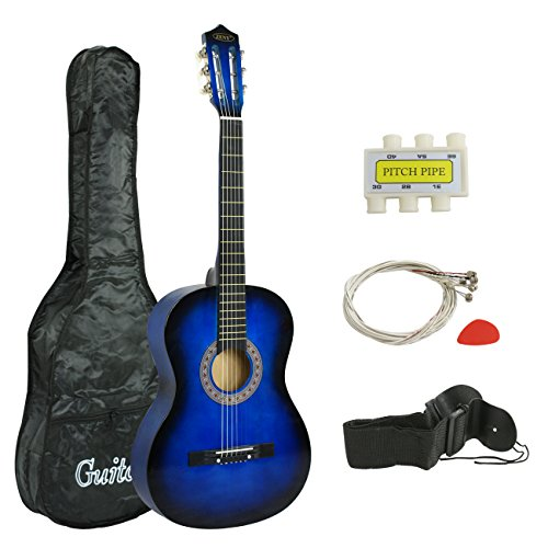 "ZENY Beginners 38"" Acoustic Guitar Package Kit for Right-handed Starters Kids Music Lovers w/ Case, Strap, Digital E-Tuner, and Pick, Blue"