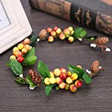 New Hot Bridal Forest Flower Headband for Women Color Fruit Wreath Wedding Hair Accessories Tiara and Crown Hairband Yellow