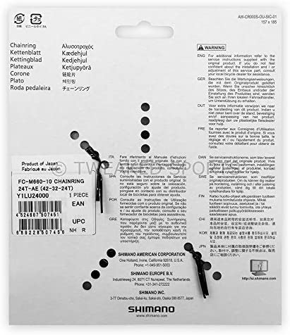 Shimano Chaînes feuilles de SLX 42dents Noir FC M660–10 1LU 9803