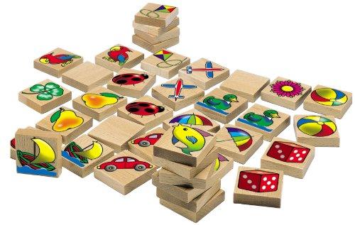 HEROS 100072402 - Holz Bilder-Memo Spiel, 40-teilig, mit 20 verschiedenen Motiven, aus Buchenholz - Made in Germany