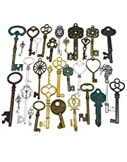 GraceAngie Wholesale 50 Pieces Antique Bronze Vintage Skeleton Mixed Key Charms DIY Necklace Pendant for Handmade Jewelry Making
