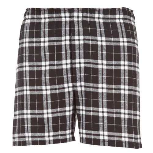 Black White Plaid Check Classic Cut Flannel Boxer Shorts, Unisex Sizes, Medium (Short Boxer White Flannel)