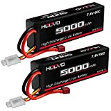 HOOVO 2S 5000mAh 7.4V 60C Lipo Battery RC Battery Hard Case with Deans Connector for RC Car Truck Truggy Buggy Tank RC Airplane Helicopter Boat Car Racing (2 Pack)