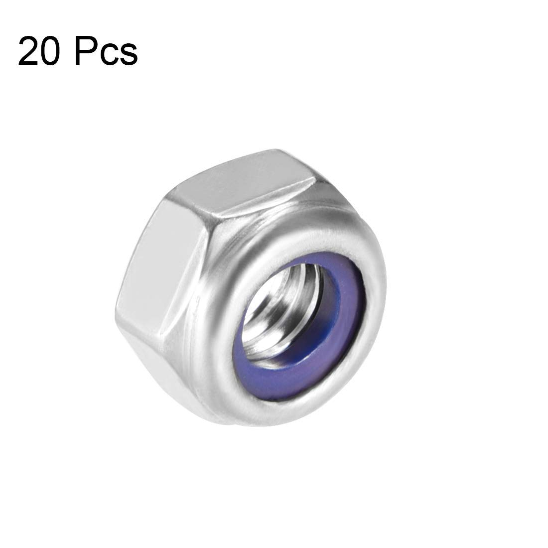 316 Stainless Steel Hexagonal Safety Nuts with M6 x 1 mm Nylon Insert Smooth Finish Pack of 20