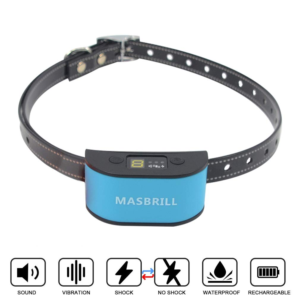 MASBRILL Dog Bark Collar for Small Medium Large Dogs-7 Adjustable Sensitivity and Intensity Levels-Three Anti Barking Modes-Rechargeable Waterproof No Barking Control Dog Shock Collar