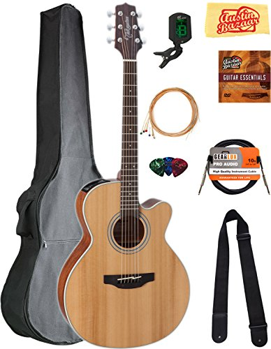 Takamine GN20CE NEX Cutaway Acoustic-Electric Guitar - Natural Satin Bundle with Gig Bag, Cable, Tuner, Strap, Strings, Picks, Austin Bazaar Instructional DVD, and Polishing Cloth