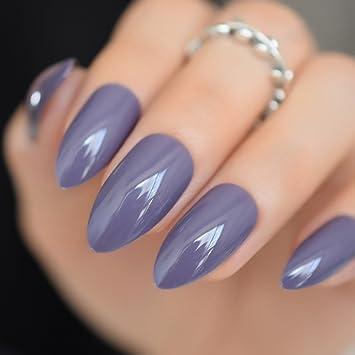 Amazon 24pcs Shinning Uv Gel Stiletto Nails Almond Design Dark