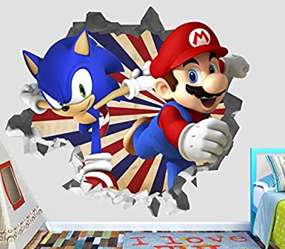 Sonic Mario Olympic Wall Decal Smashed 3D Sticker Vinyl Decor Mural Games - Broken Wall - 3D Designs - OP421