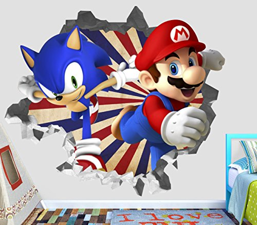 (Sonic Mario Olympic Wall Decal Smashed 3D Sticker Vinyl Decor Mural Games - Broken Wall - 3D Designs - OP421 (Small (Wide 22