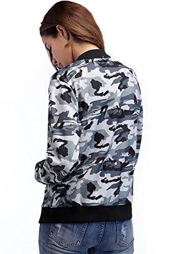 Giacche Top Invernali E Unisex Elegante Sportiva Grigio Zip Donna Boyfriend Autunno Manica All'aperto Streetwear Camuffamento Baseball Giacca Jacken Lunga Giubbotto TTqpr